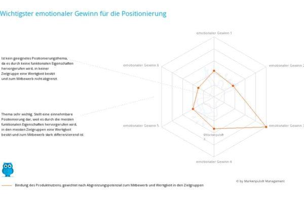 Ergebnis der Positionierungsanalyse zur Positionierung auf Werteebene nach Markenpuls Management